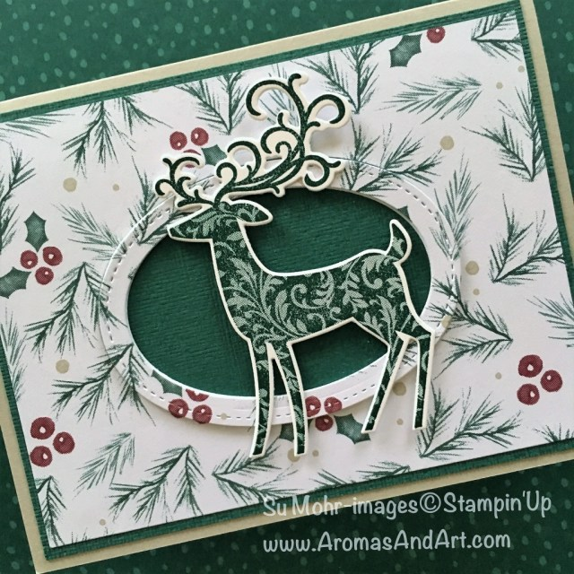By Su Mohr for Pals September 2018 Blog Hop-Holidays & Seasons; Click READ to go to my blog for details! Featuring: Dashing Deer, Detailed Deer, Joyous Noel DSP, Subtle Texture, Stampin' Up! Christmas cards; #christmascards #dashingdeer #tapestry #detaileddeer #joyousnoel #handmadecards #stampinup #diy