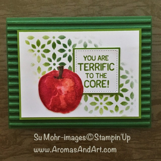By Su Mohr for WWYS185; Click READ to go to my blog for details! Featuring: Picked for You, Delightfully Detailed Laser-Cut Paper, Corrugated embossing folder; #WWYS185 #Stampinup #pickedforyou #handmadecards #diy #teachercards #stencil