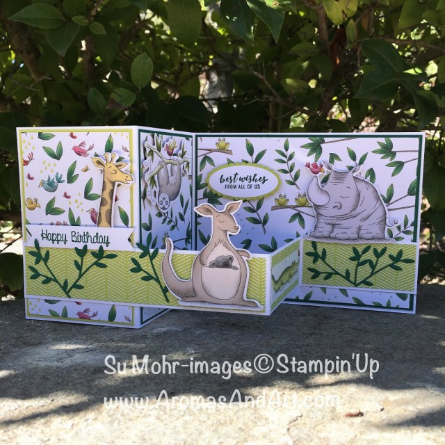 By Su Mohr for Kre8tors Nov. Blog Hop; Click READ or VISIT to go to my blog for details! Featuring: Animal Friends, Animal Expedition DSP, birthday cards: #animalfriends #animalexpedition #menagerie #birthdaycards #stampinup #crafts #diy #cardsforkids