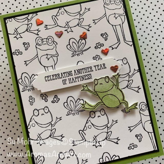 By Su Mohr for GDP171; Click VISIT or READ to go to my blog for details! Featuring: So Hoppy Together stamp set, SAB Foil Sheets, Well Written dies, Well Said stamp set, Bokeh Dots stamp set; #sohoppytogether #frogs #frogoncards #humorousbirthdaycards #wellsaid #wellwritten #foilsheets #occasions2019 #stampinup #handmadecards #diy