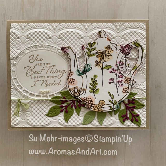 Bu Su Mohr for Pals Feb 2019 Blog Hop; Click READ or VISIT to go to my blog for details! Featuring: Tea Time dies, Tea Together stamp set, Wonderful Romance stamp set, Wonderful Floral dies, Lace Textured embossing folder, Share What You Love DSP; #sharewhatyoulove #teasets #tea #teapots #handmadecards #diy #teatime #teatogether #occasions2109 #saleabration