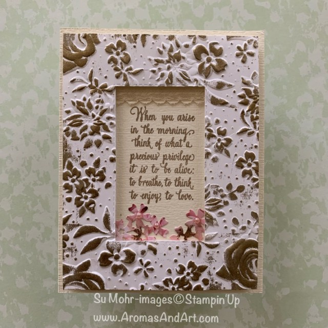 By Su Mohr for Kre8tors March 2019 Blog Hop; Click READ or VISIT to go to my blog for details! Featuring: Country Floral embossing, Enjoy Life stamp set, Rectangle Stitched die set, heat embossing, Petal Promenade DSP; #antiqueframes #frames #framesoncards #handmadecards #diy #papercrafts #stampinup #countryfloral #subtletexture #bouquetbunch #saleabration #heatembossing #frametechnique