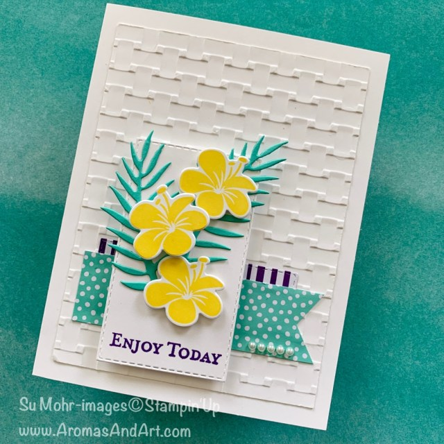 By So Mohr for GDP and Fab Fri; Click READ or VISIT to go to my blog for details! Featuring: Tropical Chic stamp set, Tropical die set, Rectangle Stitched dies, Basket Weave embossing, Banner Triple Punch; #friendshipcards #birthdaycards #tropicalchic #tropicalcards #tropical #handmadecards #handcrafted #diy #cardchallenges