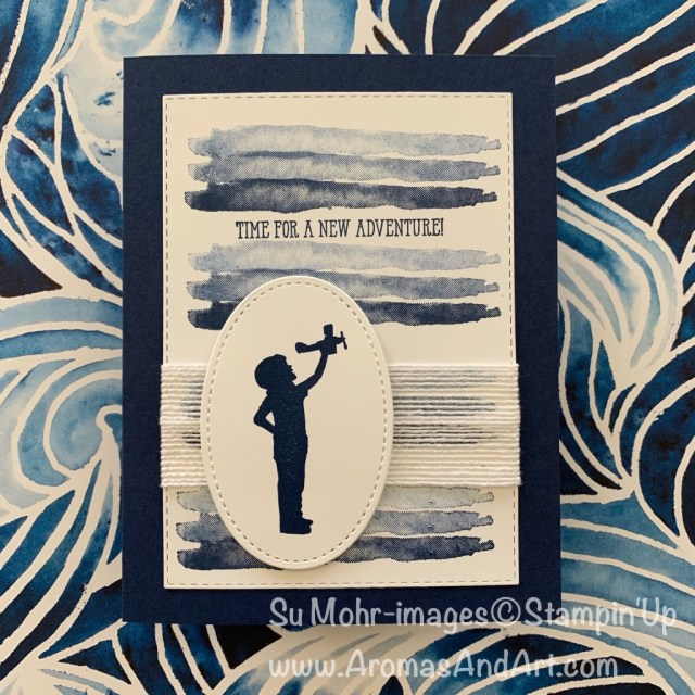 By Su Mohr for Fusion; Click READ or VISIT to go to my blog for details! Featuring: Silhouette Scenes Stamp Set, Waterfront Stamp Set, Stitched Shapes Dies, Rectangles Stitched Dies, Flax Ribbon, Ombre Technique; #silhouettescenes #airplanes #airplanesoncards #silouettes #waterfront #ombre #ombretechnique #cardtechniques #crafttechniques #handmadecards #handcrafted #diy
