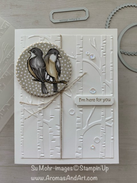 By Su Mohr for cts; Click READ or VISIT to go to my blog for details! Featuring: Bird Ballad DSP, Champagne Foil, Layering Circles Dies, Woodland Embossing, Itty Bitty Greetings, Linen Thread; #birdballad #birds #birdsoncards #woodlands #woodlandembossing #winterscene #handmadecards #diy #handcrafted #cardmaking #envouragementcards
