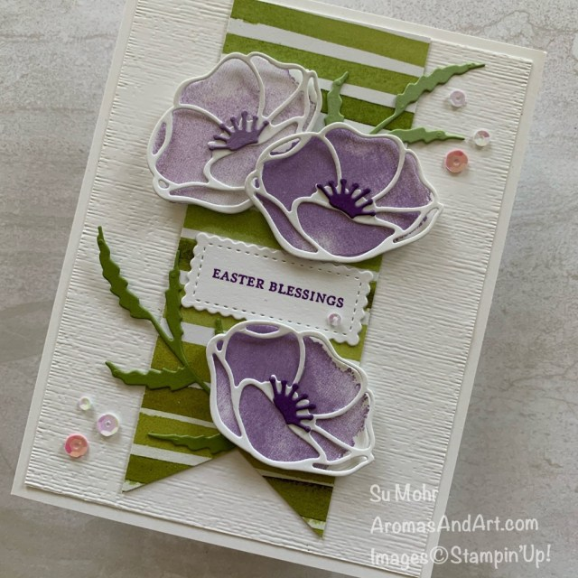 By Su Mohr for TGIF and Fab Fri; Click READ or VISIt to go to my blog for details! Featuring: Painted Poppies Stamp Set, Poppy Moments Dies, Peaceful poppies DSP, Stitched So Sweetly Dies, Banner Triple Punch; #paintedpoppies #poppymoments #peacefulpoppies #poppies #poppiesoncards #flowersoncards #eastercards #cardchallenges #casethecatalog #case #handmadecards #handcrafted #diy #cardmaking