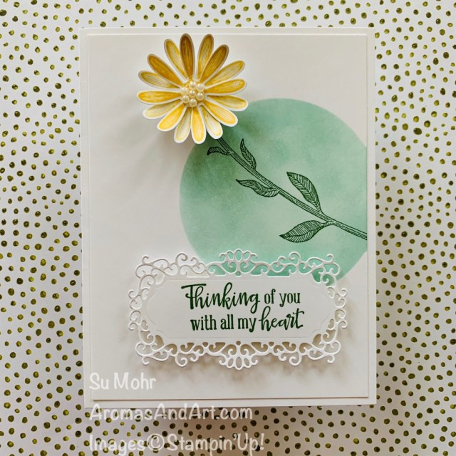 By Su Mohr for FMS; Click READ or VISIT to go to my blog for details! Featuring: Medium Daisy Punch, Daisy Lane Stamp Set, Peaceful Moments Stamp Set, Ornate Frames Stamp Set, pearls; #daisylane #peacefulmoments #daisies #daisiesoncards #flowersoncards #handmadecards #handcrafted #diy #cardmaking #papercrafting #stampinup #2020saleabration