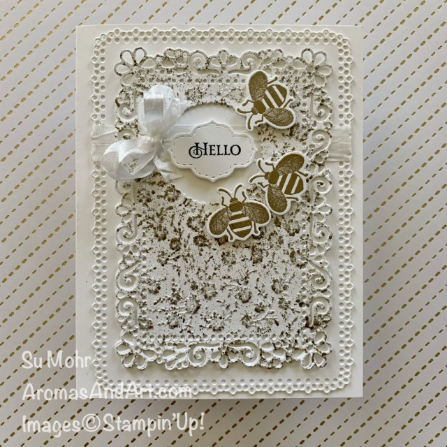 By Su Mohr for FMS; Click READ or VISIT to go to my blog for details! Featuring: Honey Bee Stamp Set, Detailed Bee Dies, Stitched So Sweetly Dies, Layering Circles Dies, Ornate Layers Dies, Seam Binding Ribbon, Ornate Floral embossing; #honeybee #beesoncards #friendshipcards #Ornatefloral #detailedbees #retiringproducts #stampinup #lastchanceproducts #handmadecards #handcrafted #diy #papercrafting #cardmaking #cardsketches #goldandwhite #heatembossing