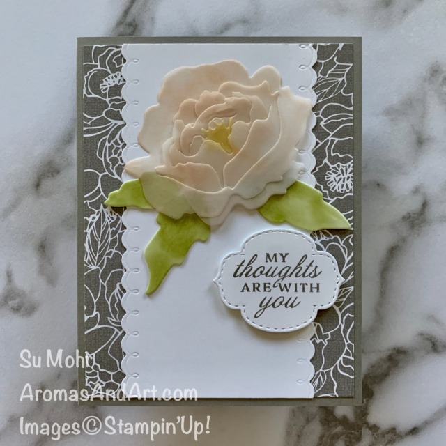 By Su Mohr; Click READ or VISIT to go to my blog for details! Featuring: Prized Peony Stamp Set, Peony Dies, Stitched So Sweetly Dies, Vellum Cardstock; #peonydies #prizedpeony #peonies #flowersoncards #peoniesoncards #handmadecards #handcrafted #diy #cardmaking #papercrafting #peonygarden #sympathycards #stampinup #2020-2021