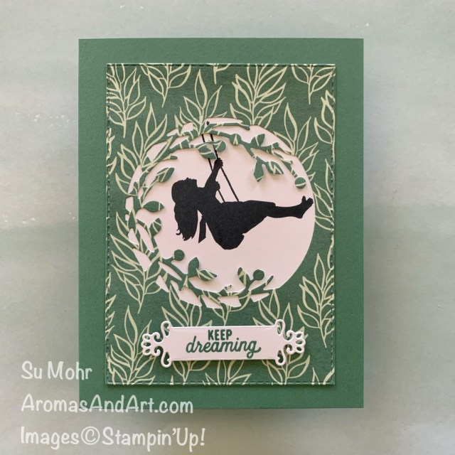 By Su Mohr for TGIF; Click READ or VISIT to go to my blog for details! Featuring: Silhouette Scenes Stamp Set, Birds& More Dies, Ornate Frames Dies, Forever Greenery paper; #silhouettescenes #keepdreaming #swinging #childhood #dreaming #silhouettesoncards #cardthemes #cardchallenges #birds&more #cardinstructions #cardmaking #papercrafting #handmadecards #handcrafted #diy