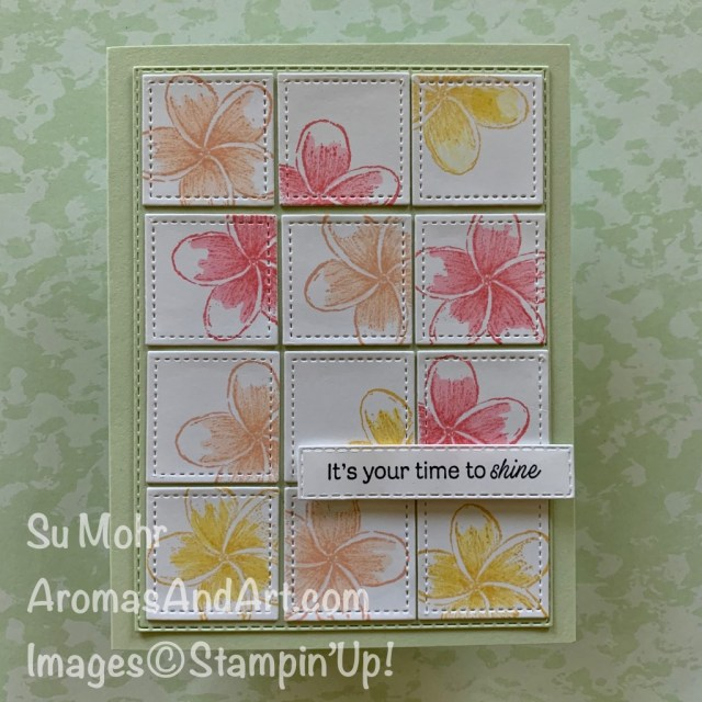 By Su Mohr for Fusion; Click READ or VISIT to go to my blog for details! Featuring: Stitched Shapes Dies, Timeless Tropical Stamp Set, Daisy Lane Stamp Set, Stitched Rectangles Dies; #timelesstropical #stitcheddies #tropicalflowers #flowersoncards #birthdaycards #friendshipcards #handmadecards #handcrafted #diy #cardmaking #papercrafting #stampinup #cardsketches #cardchallenges #cardinstruction