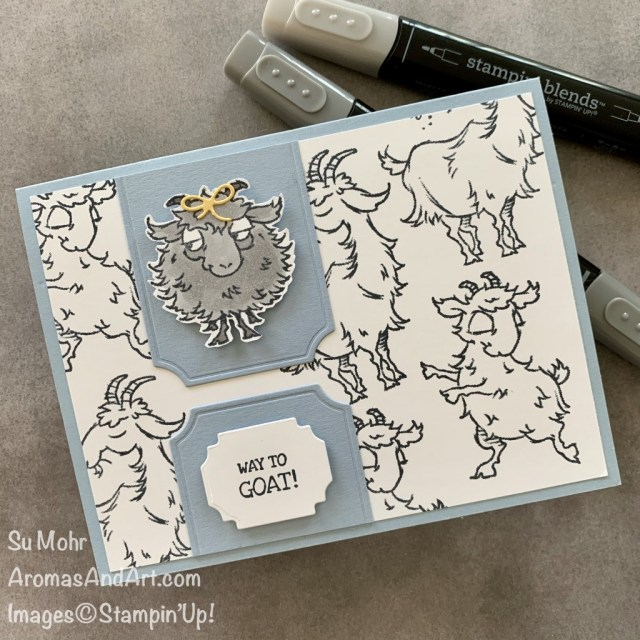 By Su Mohr for PP and TGIF; Click READ or VISIT to go to my blog for details! Featuring: Way To Goat Stamp Set, Painted Labels Dies, Ornate Frames Dies, Special Days Dies; #waytogoat #goats #goatsoncards #humorouscards #handmadecards #handcrafted #diy #cardmaking #papercrafting #stampinup #animalsoncards #cardsketches #colorcombinations