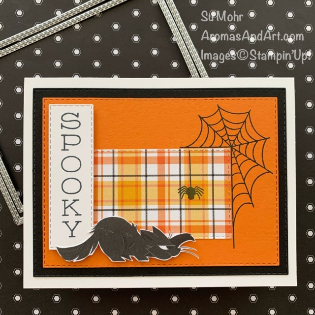 By Su Mohr; Click READ or VISIT to go to my blog for details! Featuring: Playful Pets Paper, Plaid Tidings Paper, Festive Corners Stamp Set, Stitched Rectangles Dies; #halloweencards #blackcats #halloween #diy #handmadecards #handcrafted #papercrafting #cardmaking #cardinstruction #spooky #stampinup #winnersannounced #6X6paper