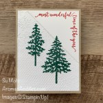By Su Mohr for #GDP255; Click READ or VISIT to go to my blog for details! Featuring: In The Pines Stamp Set, Pinewoods Dies, Festive Corners Stamp Set, Tasteful Textile embossing, Winter Snow embossing, Stitched Triangles, Regals 6X6 Paper; #christmascards #holiday2020 #christmastrees #treesoncards #stitchedtriangles #inthepines #gdp255 #handmadecards #handcrafted #diy #cardmaking #papercrafting #stampinup