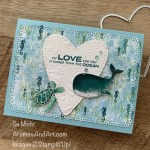 By Su Mohr for TGIF; ClickREAD or VISIT to go to my blog for details! Featuring: Whale Done Stamp SEt, Whale of a Time Designer Paper, Ornate Frames Dies, Seabed embossing, Mesh Metallic Ribbon, Be Mine Stitched Dies; #whaledone #whaleofatime #whales #whalesoncards #heartsoncards #ornatelayers #ocean #oceanthemes #sealife #turtles #turtlesoncards #handmadecards #handcrafted #diy #cardmaking #cardinstruction #papercrafting