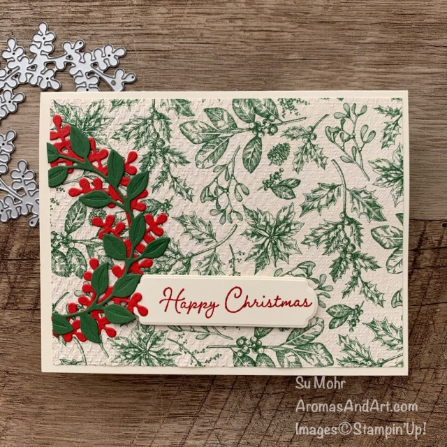By Su Mohr; Click READ or VISIT to go to my blog for details! Featuring: Toile Tidings PaperSnow Time DiesSnow Wonder Stamp Set Wreath Builder Dies, Tasteful Textile embossing; #christmascards #holidaycards #toile #wreaths #wreathbuilderdies #wreathsoncards #holiday2020 #handmadecards #handcrafted #diy #cardmaking #papercrafting #stampinup #cardinstructiuon