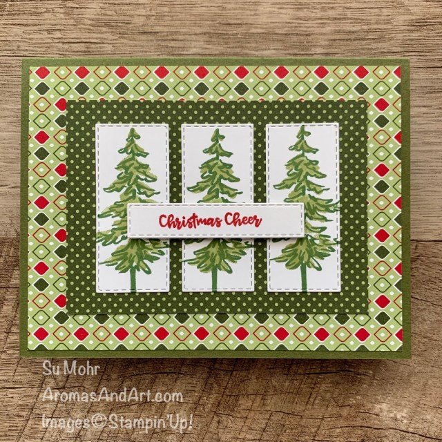 By Su Mohr for #GDP258; Click READ or VISIT to go to my blog for details! Featuring: Heartwarming Hugs Paper, In The Pines Stamp Set, Itty Bitty Christmas Stamp Set, Stitched Rectangles Dies; #christmascards #holidaycards #treesoncards #Christmastrees #gdp258 #handmadecards #handcrafted #diy #cardmaking #papercrafting #stampinup #traditionalchristmascards