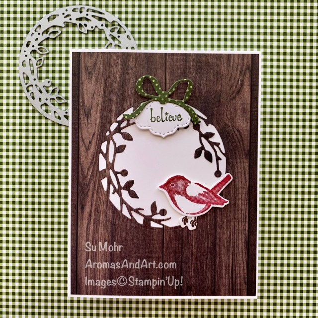 By Su Mohr for FMS; Click READ or VISIT to go to my blog for details! Featuring: Bird & More Dies, Birds & Branches Stamp Set, Itty Bitty Christmas Stamp Set, Stitched So Sweetly Dies, Wreath Builder Dies, In Good Taste Paper, Heartwarming Hugs Paper; #christmascards #holidaycards #birds #birdsoncards #bird&branches #ingoodtaste #paperpumpkin #handmadecards #handcrafted #cardmaking #diy #papercrafting