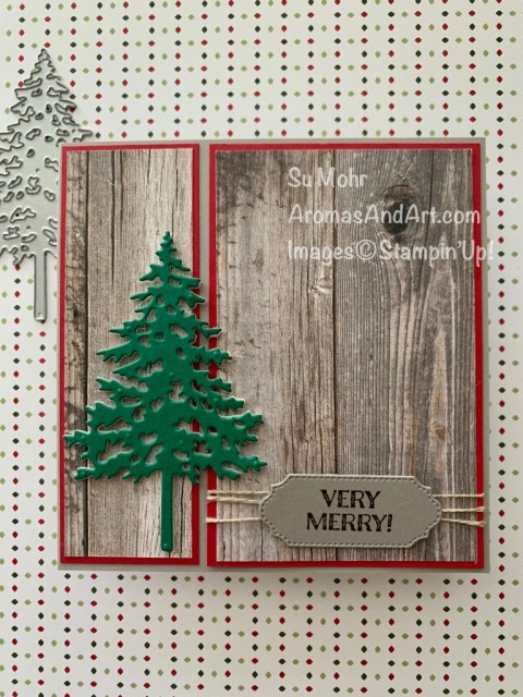 By Su Mohr for FMS; Click READ or VISIT to go to my blog for details! Featuring: In Good Taste Designer Paper, Pine Woods Dies, Linen Thread, Ornate Frames Dies, Itty Bitty Christmas Stamp Set, Foam Adhesive Sheets; #christmascards #holidaycards #holiday2020 #woodtexture #christmastrees #treesoncards #pinetrees #handmadecards #handcrafted #diy #cardmaking #papercrafting #squarecards