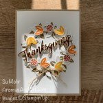 By Su Mohr for Pals Hop; Click READ or VISIT to go to my blog for details! Featuring: Arrange A Wreath Bundle, Brushed metallic Paper, Word Wishes Dies, Linen Thread; #thanksgivingcards #fallcards #wreathcards #cardswithawreath #wreaths #heatembossing #dimensiononcards #handmadecards #handcrafted #diy #cardmaking #papercrafting #paperwords