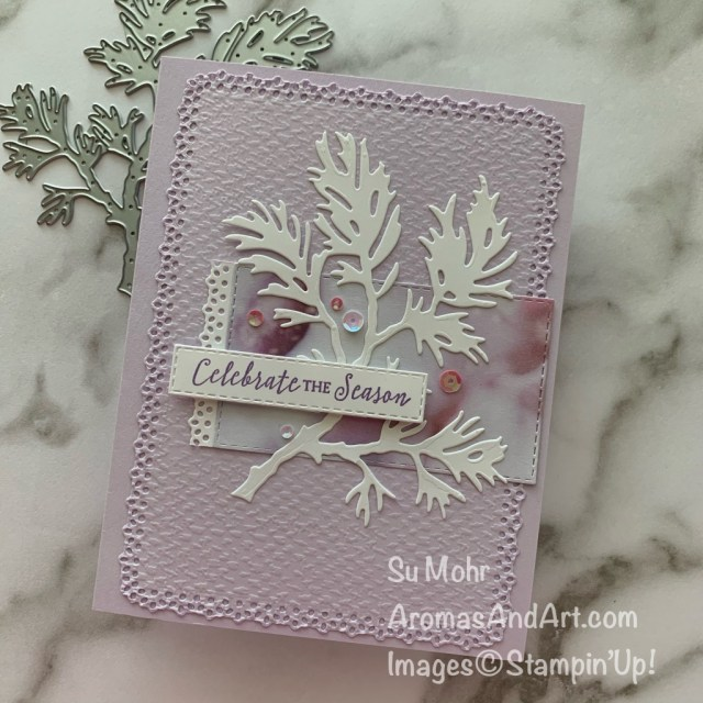By Su Mohr for Fab Friday; Click READ or VISIt to go to my blog for details! Featuring: Beautiful Boughs Dies, Feels Like Frost Designer Paper, Ornate Layers Dies, Stitched Rectangles Dies, Tasteful Textile embossing; #holidaycards #holiday2020 #beautifulboughs #feelslikefrost #handmadecards #handcrafted #diy #cardmaking #papercrafting #christmascards #stampinup #cardsketches #ornatelayers