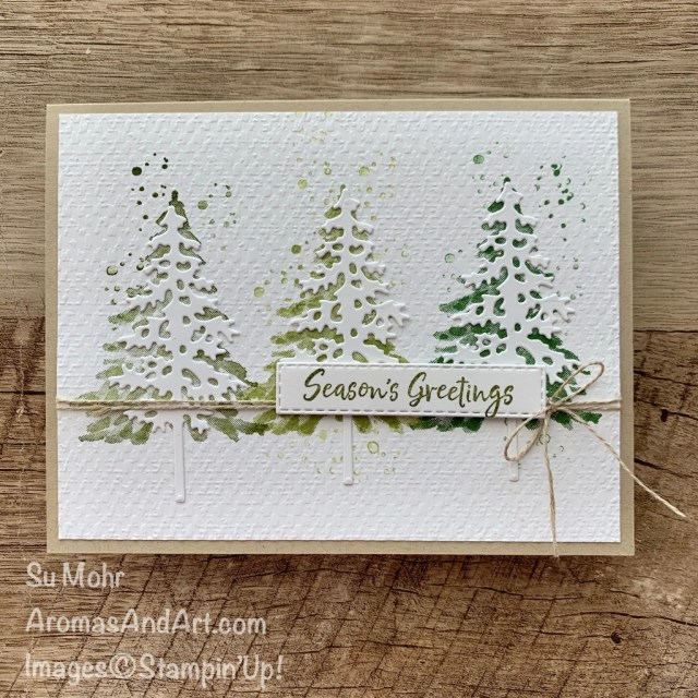 By Su Mohr for GDP264; Click READ or VISIT to go to my blog for details! featuring: In The Pines Stamp set, Pine Woods Dies, Tasteful Textile embossing, Stitched Rectangles Dies, Linen Thread; #christmascards #holidaycards #holiday2020 #inthepines #pinetrees #treesoncards #gdp264 #handmadecards #handcrafted #diy #cardmaking #papercrafting #cardstocase #cardinstruction #stampinup #cardchallenges