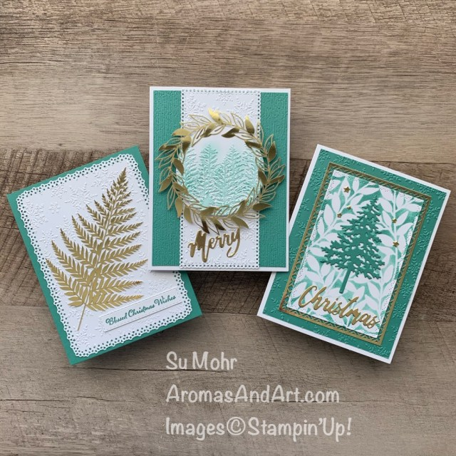 By Su Mohr for Stamping Sunday; Click READ or VISIT to go to my blog for details! Featuring: Forever Gold Specialty Paper,Winter Snow embossing, Ornate layers Dies, Word Wishes Dies, Pine Woods Dies, Nature's Thoughts Dies, Evergreen Forest embossing; #stampinsunday #christmascards #holidaycards #forevergoldpaper #handmadecards #handcrafted #diy #cardmaking #papercrafting #cardinstruction