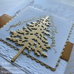 By Su Mohr for cts; Pine Woods Dies,Ornate Layers Dies, Brushed Metallics Cardstock,Festive Corners Stamp Set; Evergreen Forest Embossing Folder; #pinewoods #ornatelayers #whiteandgoldcards #christmascards #holidaycards #evergreenforest #embossedcards #handmadecards #handcrafted #diy #cardmaking #papercrafting #festivecorners #stamparatus #cardtechniques #cardsketches