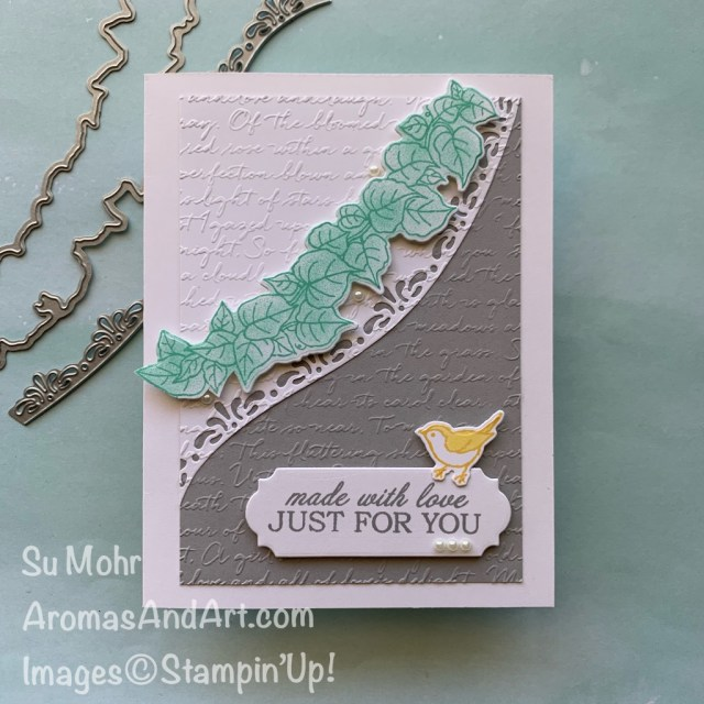 By Su Mohr for GDP265; Click READ or VISIT to go to my blog for details! Featuring: Quite Curvy Stamp Set, Curvy Dies, Scripty embossing, Ornate Frames Dies, Pearls; #quitecurvy #curvydies #curvycelebrations, #friendshipcards #colorcombinations #scriptembossing #ornateframes #stampinup #2020-2021 #handmadecards #handcrafted #diy #cardmaking #papercrafting #cardinstruction #jan-juneminicatalog