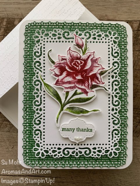 By Su Mohr for the Pals Hop; Click READ or VISIT to go to my blog for details! Featuring: Flowering Blooms Stamp Set, Flowering Dies, Detailed Trio Punch, Stamparatus, Itty Bitty Greetings, Stitched So Sweetly, Ornate Layers Dies, Scripty embossing; #flowers #flowersoncards #thankyoucards #stamparatus #cardtechniques #inktostamptechnique #floweringblooms #handmadecards #handcrafted #diy #cardmaking #papercrafting #cardinstruction #palsbloghop #stampinup