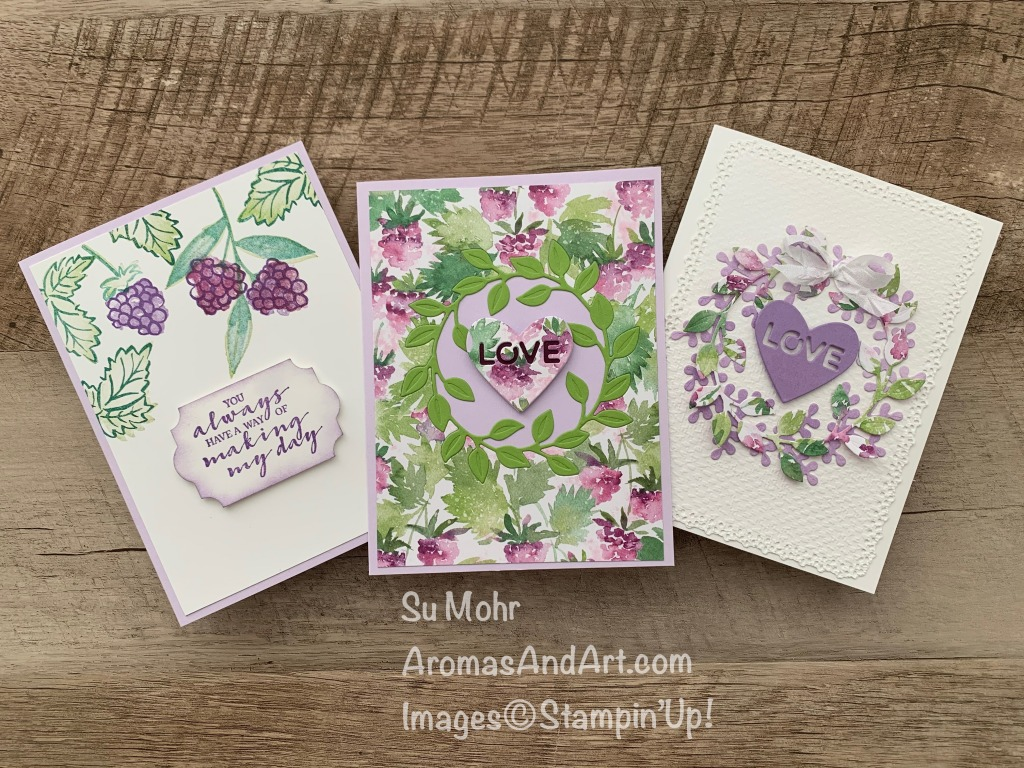 By Su Mohr for Stamping Sunday; Click aromasandart.com to go to my blog for details! Featuring:Berry Delightful Designer Paper, Everyday Label Punch, Wreath Builder Dies, Ornate Layers Dies, Tasteful Texture embossing, Crinkled Seam Binding Ribbon; #stampinup2021 #simplestamping #handmadecards #handcrafted #diy #cardmaking #papercrafting #wreathsoncards #wreathbuilderdies #berrydelightfulpaper #sab2021 #sale-a-bration2021