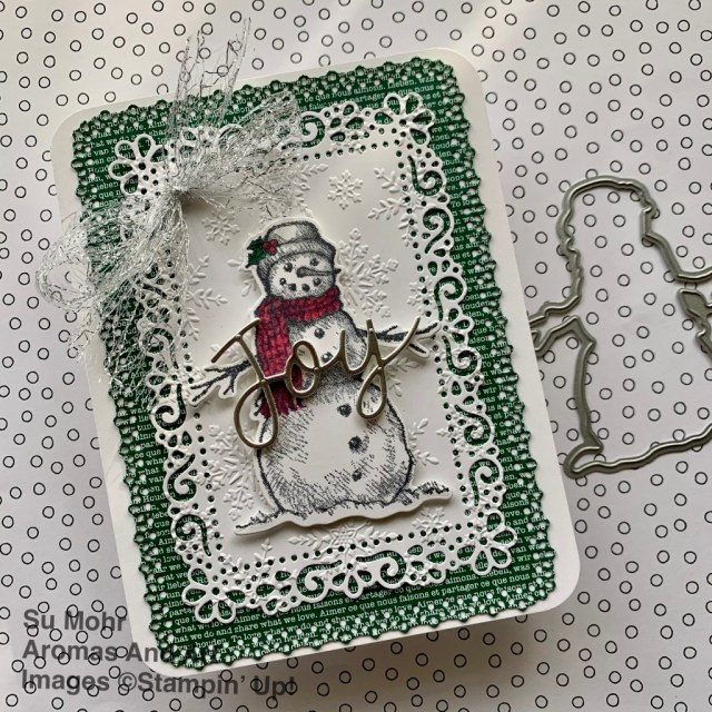 By Su Mohr for GDP271; Click aromasandart.com to go to my blog for details! Featuring: Snow Wonder Stamp Set, Snow Time Dies, Ornate Layers Dies, Joy Dies, Metallic Mesh Ribbon, Detailed Trio Punch; #christmascards #holidaycards #holiday2020 #retiringstampinup #stampinupsale #ornatelayersdies #snowwonder #snowmen #snowmenoncards #gdp271 #snowtime #joydies #wintersnow #wintercards #handmadecards #handcrafted #diy #cardmaking #papercrafting
