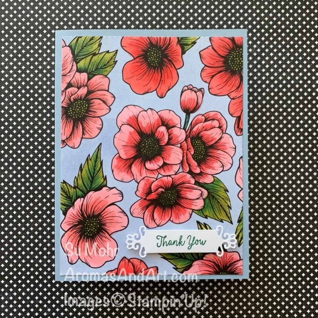 By Su Mohr for FF; Click aromasandart.com to go to my blog for details! Featuring: True Love Designer Paper, Stampin' Blends, Ornate Frames Dies; #thankyoucards #coloring #adultcoloring #flowers #flowersoncards #Truelovepaper #blackandwhitepaper #stampinup #jan-june2021 #handmadecards #handcrafted #diy #cardmaking #papercrafting