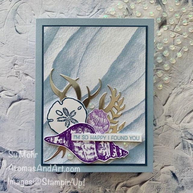 By Su Mohr for GDP276; Click aromasandart.com to go to my blog for details! Featuring: Friends Are Like Seashells Stamp Set, Seaside Seashell Dies, Opal Rounds, Sand & Sea Designer Paper; #seashells #shellsoncards #friendsarelikeseashells #stampinup #sumohr #aromasandart #casethedesigner #cardchallenges #gdp276 #handmadecards #handcrafted #diy #cardmaking #papercrafting #stamping #saleabration2021 #sand&sea