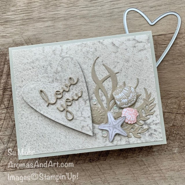 By Su Mohr for PP; Click aromasandart.com to go to my blog for details! Featuring: Friends Are Like Seashells; Seaside & Seashell Dies, Sand & Sea Designer Paper, Seashells Embossing Folder, Be Mine Stitched Dies, Well Written Dies; #friendsarelikeseashells #sand&sea #seashells #shells #beachscenes #shellsoncards #valentines #heartsoncards #handmadecards #handcrafted #diy #cardmaking #papercrafting #stamping #stampinup #sumohr #aromasandart #cardthemes #beach