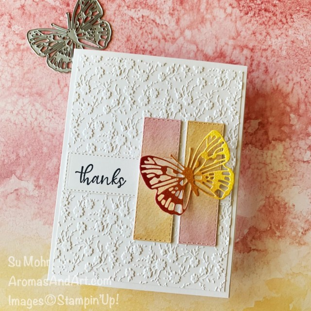 By Su Mohr for PP; Click aromasandart to go to my web site for details! Featuring: Rainbow Glimmer Paper, Brilliant Wings Dies, Sand & Sea Designer Paper, Rectangles Stitched Dies, Ornate Layers Dies, Ornate Floral Embossing Folder, Simply Succulents Stamp Set; #brilliantwings #simplesucculents #rainbowglimmerpaper #sand&sea #ornatefloralembossing #thankyoucards #butterflies #butterfliesoncards #handmadecards #handcrafted #diy #cardmaking #papercrafting #sumohr #aromasandart #cardsketches #cardchallenges