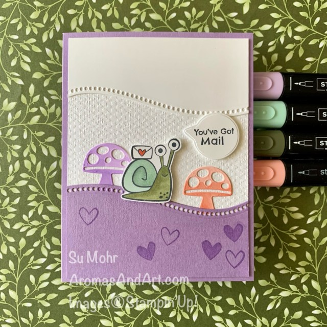 By Su Mohr for Fab Fri; Click aromasandart to go to my web site for details! Featuring: Snail Dies, Snailed It Stamp Set, Curvy Dies, Tasteful Textile embossing, Stampin' Blends; #you'vegotmail #snails #snailsoncards #snailedit #snailmail #handmadecards #handcrafted #diy #cardmaking #papercrafting #colorcombos #cardchallenges #sumohr #aromasandart #stampinup #stamping #curvydies