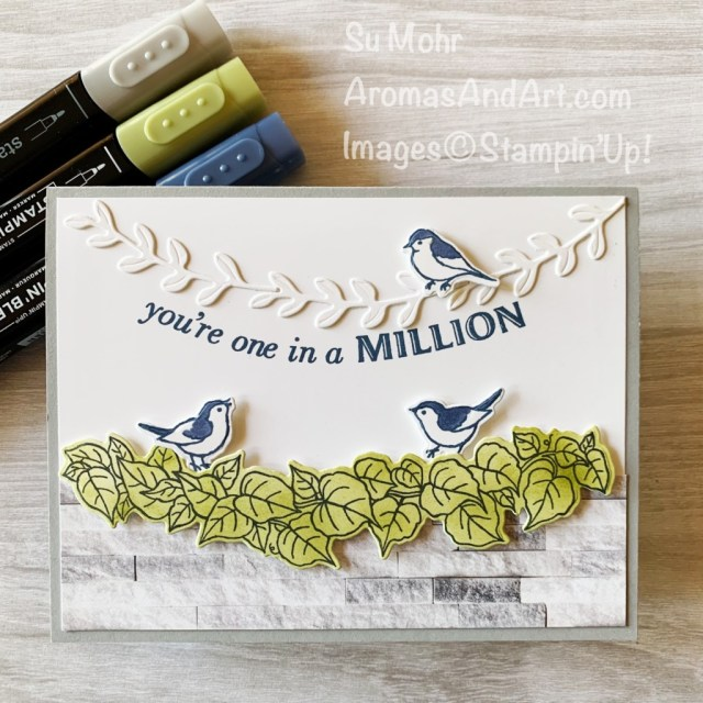 By Su Mohr for Fab Fri; Click aromasandart to go to my web site for details! Featuring: Quite Curvy Stamp Set, Curvy Dies, In Good Taste Designer Paper, Stampin' Blends; #quitecurvy, #curvydies #ingoodtaste #birds #birdoncards #handmadecards #handcrafted #diy #cardmaking #papercrafting #sumohr #aromasandart colorcombos #cardchallenges #stampinup #stamping