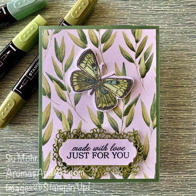 By Su Mohr for Fusion; Click aromasandart to go to my web site for details! Featuring: Butterfly Brilliance Stamp Set, Brilliant Wings Dies, Ornate Frames Dies, Forever Greenery Designer Paper, Quite Curvy Stamp Set; #butterflies #butterflycards #brilliantwings #butterflybrilliance #stamparatus #ornateframes #handmadecards #handcrafted #diy #papercrafting #cardmaking #cardchallenges #cardinspiration #stampinblends