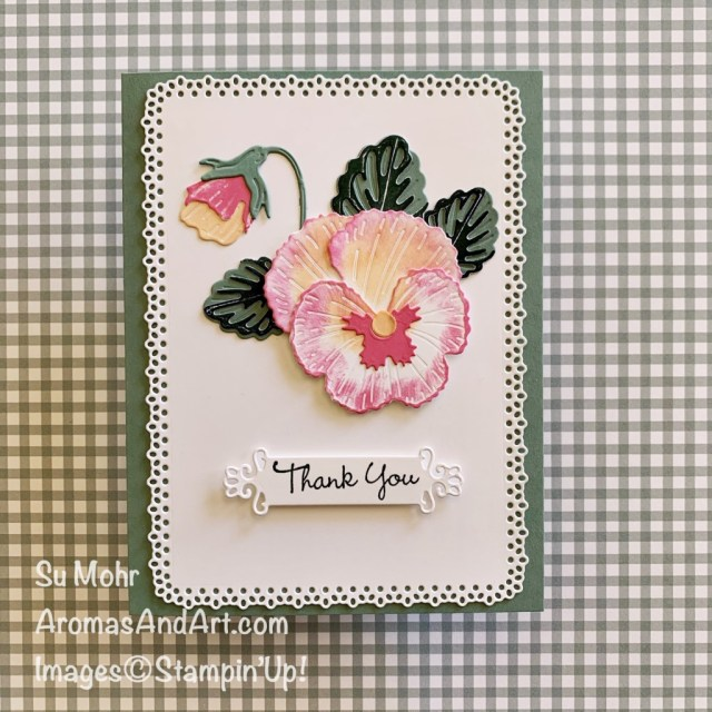 By Su Mohr: Click aromasnadart to go to my web site for details! Featuring: Pansy Patch Stamp Set, Pansy Dies, Ornate layers Dies, Ornate Frames Dies, 2021-23 In Colors; #pansypatch #pansydies #pansies #flowersoncards #2021-23incolors #winnerannouncement #prizedrawing #join+ #handmadecards #handcrafted #diy #cardmaking #papercrafting #sumohr #aromasandart