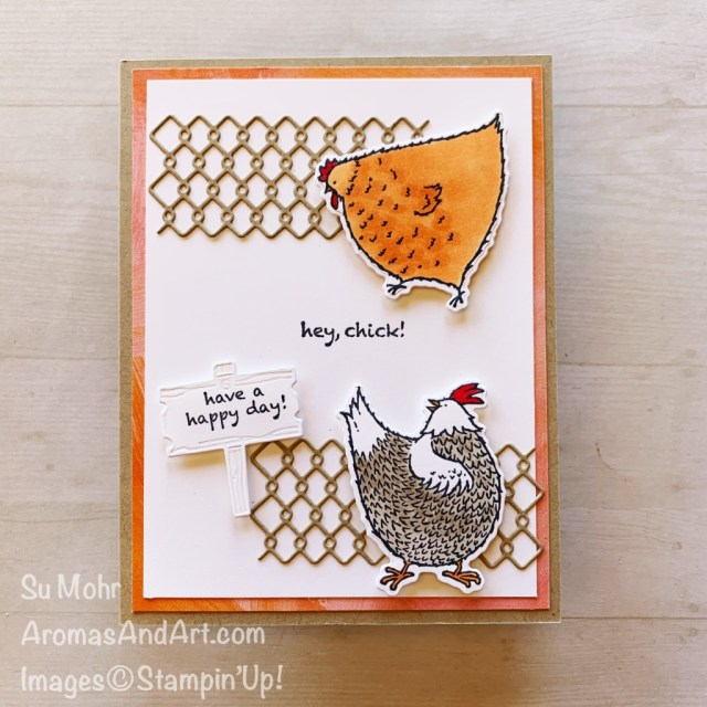 By Su Mohr for TGIF; Click aromasandart to goto my web site for details! Featuring: Hey, Chick! Stamp Set, Chick Dies, Stampin' Blends; #heychick #chickdies #stampinblends #chickens #chickensoncards #handmadecards #handcrafted #diy #cardmaking #papercrafting #sumohr #aromasandart #stampinup #humorouscards #animalsoncards #cardchallenges