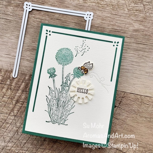 By Su Mohr for Fusion; Click aromasandart to go to my web site for details! Featuring: Lasting Elegance Dies; Subtle Textured Embossing Folder, Well Said Stamp Set, Garden Wishes Stamp Set, Dandy Wishes Dies; #bees #beesoncards #dandywishes #gardenwishes #subtletextured #lastingelegancedies #saledies #wellsaid #gardens #handmadecards #handcrafted #diy #cardmaking #papercrafting #sumohr #aromasandart #stampinup #lastchancesale