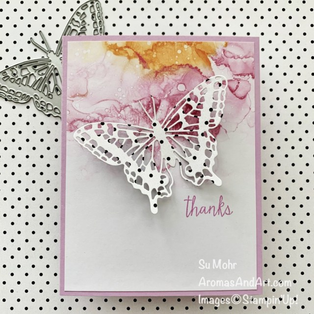 By Su Mohr for PP; Click aromasandart to go to my web site for details! Featuring: Brilliant Wings Dies, Expressions In Ink Designer Paper, True Love Designer Paper, Queen Anne's Lace Stamp Set; #Butterflies #butterfliesoncards #brilliantwings #expressionsinink #clean&simplecards #cascards #easycards #handmadecards #handcrafted #polkadots #cardmaking #papercrafting #thankyoucards #sumohr #aromasandart