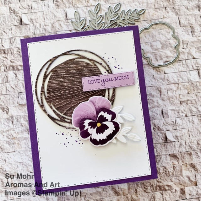 By Su Mohr for FMS; Click aromasandart to go to my web site for details! Featuring: Pansy Patch Stamp Set, Pansy Dies, Pansy Petals Designer Paper, Painted labels Dies, In Good Taste Designer Paper; #pansypatch #pansypetals #pansydies #pansies #flowersoncards #paintedlabels #ingoodtaste #sneakpeeks #handmadecards #handcrafted #diy #cardmaking #papercrafting ##sumohr #aromasandart