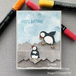 By Su Mohr for GDP 291; Click aromasandart to go to my web site for details; Featuring: Party Puffins, Majestic Mountain Dies, In Good Taste paper, Sand & Sea paper; #partypuffins #birthdaycards #puffins #puffinsoncards #handmadecards #handcrafted #diy #cardmaking #papercrafting #aromasandart #sumohr #gdp291