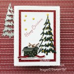 By Su Mohr; Click aromasandart.com to go to my website for details! Featuring: Sweet Stockings Designer Paper, Ornate layers Dies, Christmas Trees Dies, Snow Wonder Stamp Set, Stitched Rectangles Dies; #sweetstockings #cats #catsoncards #christmascards #holidaycards #holiday2021 #christmastrees #handmadecards #handcrafted #diy #cardmaking #papercrafting #sumohr #aromasandart.com/shop #stamping #stampinup