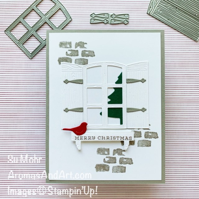 By Su Mohr; Click aromasandart.com to go to my website for details! Featuring: Welcoming Window Stamp Set, Window Flower Box Dies, Beautiful Trees Dies, Pine Tree Punch; #chistmascards #holidaycards #holiday2021 #christmastrees #handmadecards #handcrafted #diy #cardmaking #papercrafting #stamping #stampinup #sumohr #aromasandart.com/shop #pinetreepunch