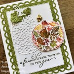 By Su Mohr for PP; Click aromasandart.com to go to my website for details! Featuring: Pretty Pumpkins Stamp SEt, Detailed Pumpkins Dies, Scalloped Contours Dies, Stitched Rectangles Dies, Bumblebee Trinkets; #pumpkins #prettypumpkins #detailedpumpkins #bumblebees #scallopedcontours #pumpkinsoncards #stampinuppumpkins #fallcards #cardtevhniques #inktostamp #sumohr #aromasandart.com/shop #stampinup #stamping #handmadecards #handcrafted #diy #cardmaking #papercrafting