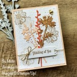 By Su Mohr; Click aromasandart.com to go to my website for details! Featuring: Quiet Meadow Stamp Set, Meadow Dies, Simply Elegant Trim, Timeworn Type Embossing Folder, Bumblebee Trinkets, Cork Specialty Paper; #quietmeadow #wildflowers #flowersoncards #thinkingofyou #handmadecards #handcrafted #diy #cardmaking #papercrafting #sumohr #aromasandart.com/shop #stamping #stampinup #beesoncards