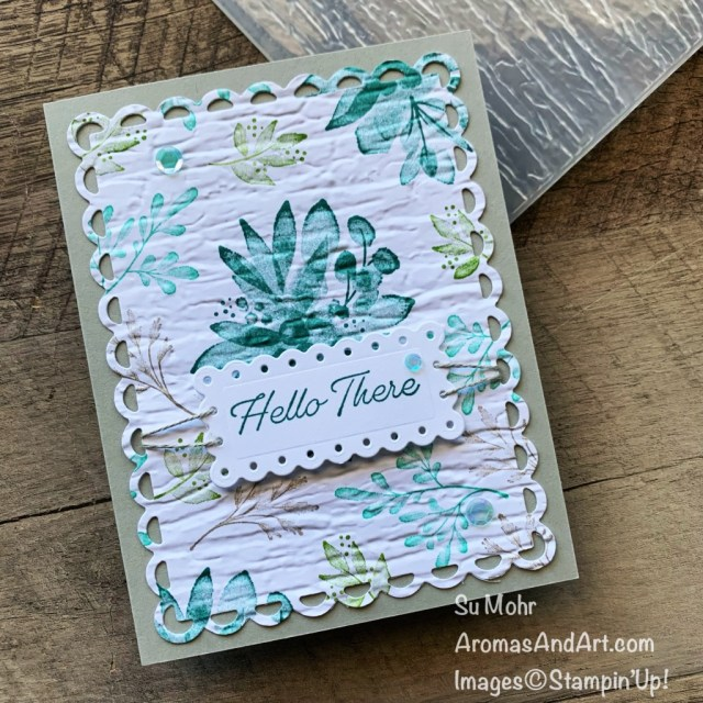By Su Mohr; Click aromasandart.com to go to my website for details! Featuring:Eden's Garden Stamp Set, Bark Embossing Folder, Scalloped Contours Dies, Linen Thread; #cottonquilts #edensgarden #scallopedcontours #floralstamps #cardtechniques #scallopedcontours #handmadecards #handcrafted #diy #cardmaking #papercrafting #stamping #stampinup #sumohr #aromasandart.com/shop